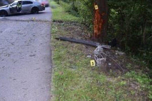 Vodič v tiahlej ľavotočivej zákrute neprispôsobil rýchlosť jazdy svojim schopnostiam, stavu a povahe vozovky a zišiel mimo cestu. Tam narazil do betónovej pätky stĺpu a následne do stromu.