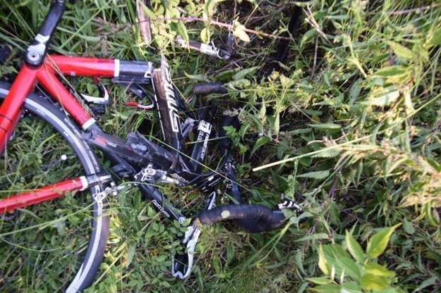 Zničený bicykel.
