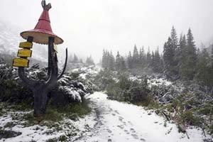 Na horách v niektorých miestach pribudlo 30 cm nového snehu. Na hrebeňoch včera fúkal silný vietor, teploty klesli pod nulu a vytvárala sa námraza. Na snímke Žiarska dolina.