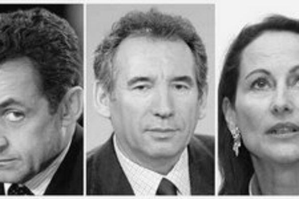 Z tvrdého boja Sarkozyho a Royalovej zatiaľ ťaží muž v strede – Francois Bayrou. FOTO – TASR/AFP, SITA/AP
