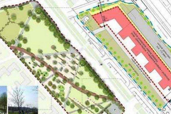Návrh a realita. Fotografia zverejnená na sociálnej sieti zobrazuje návrh parku (A) a schválený návrh investora (B).