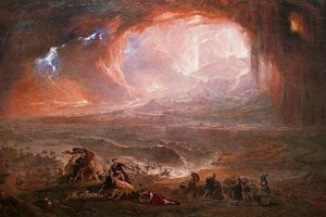 Zničenie miest Pompeje a Herculaneum podľa maliara Johna Martina.