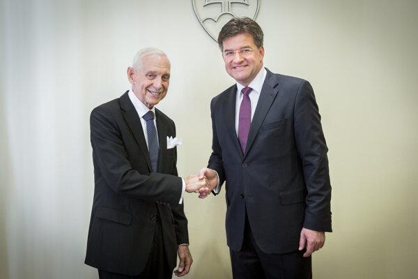 Minister zahraničných vecí a európskych záležitostí SR Miroslav Lajčák a generálny riaditeľ Medzinárodnej organizácie pre migráciu (IOM) William Lacy Swing.