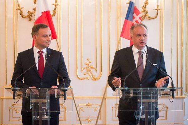 Prezident Poľskej republiky Andrzej Duda a prezident SR Andrej Kiska.