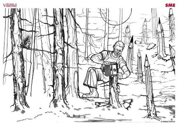 Maľovanka. Helena Tóthová sa pokúša narušiť klasický pohľad na obrazotvornosť krajiny - vytvára si akýsi vlastný les, v ktorom platia jedine jej vlastné pravidlá.