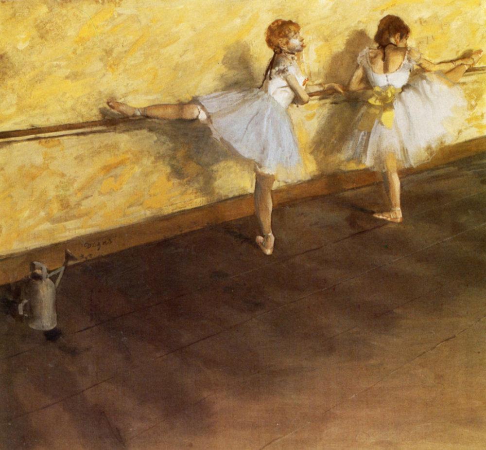 Tanečnice cvičia pri baletnej tyči. 1876 -1877, olej na plátne, Metropolitan Museum of Art, New York.