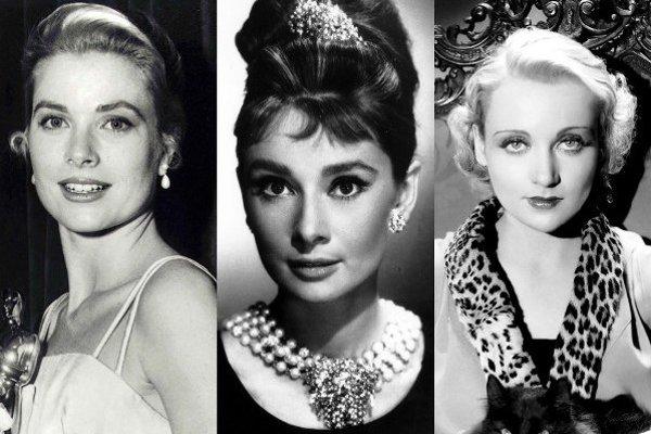 Zľava: Grace Kelly, Audrey Hepburn, Carole Lombard