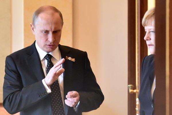 Putin a Merkelová v máji 2015.