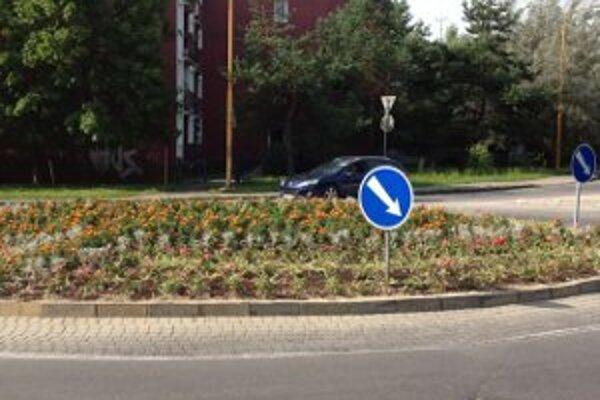 Na kruhových objazdoch pribudla kvetinová výzdoba.