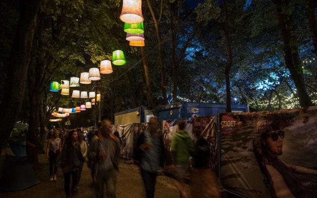 Medzi stromami nad hlavami okoloidúcich v noci žiaria lampáše alebo vianočné svetielka.