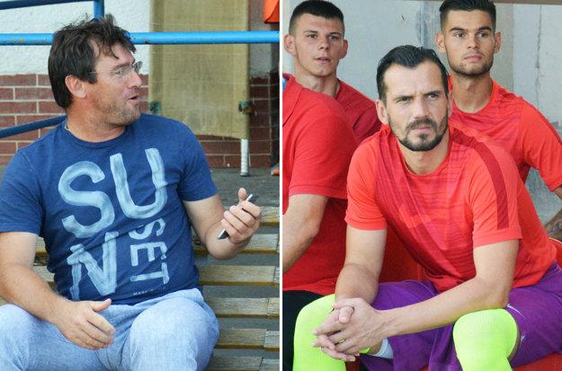 Vľavo asistent trénera ŠKF Ľubomír Moravčík, vpravo staronová akvizícia Štefan Senecký.