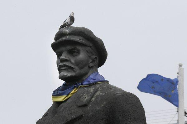 Socha Lenina v ukrajinskom Slovjansku.
