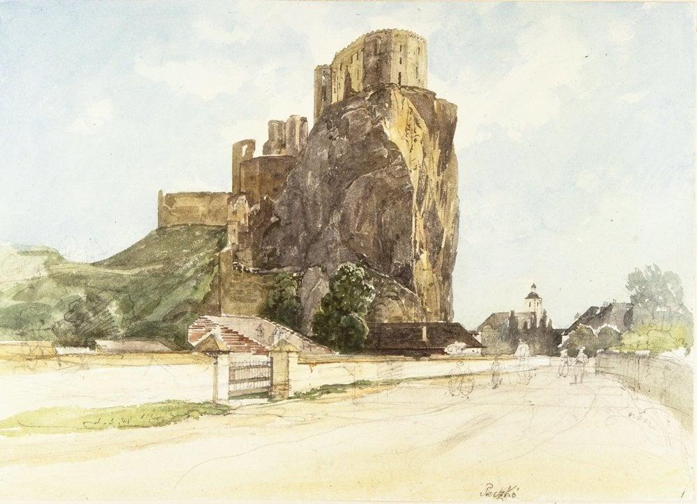 Ruiny Beckovského hradu zo severu, strmá skala a baroková veža kostola.