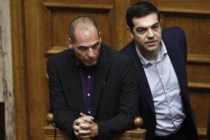 Minister financií Varoufákis a nový premiér Alexis Tsipras.