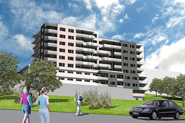 Návrh novej bytovky. Pod 52 bytmi sa nachádza 74 garáží.