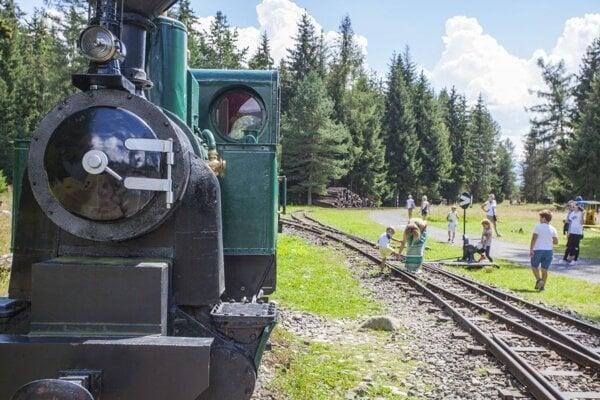 expozícia historického vozového parku úzkorozchodnej Považskej lesnej železničky v Múzeu liptovskej dediny v Pribyline.