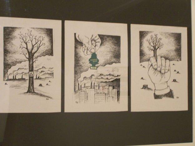 Oslava karikatúry - pohľad do výstavnej siene.