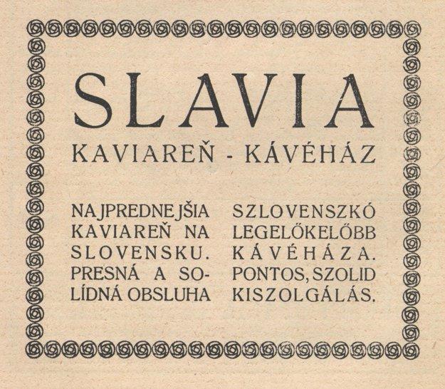 Kaviareň Slávia, reklama z roku 1924.