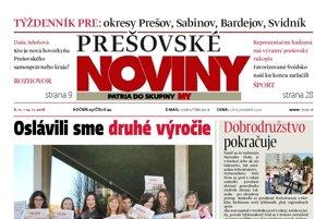 Titulka týždenníka Prešovské noviny č. 44/2016