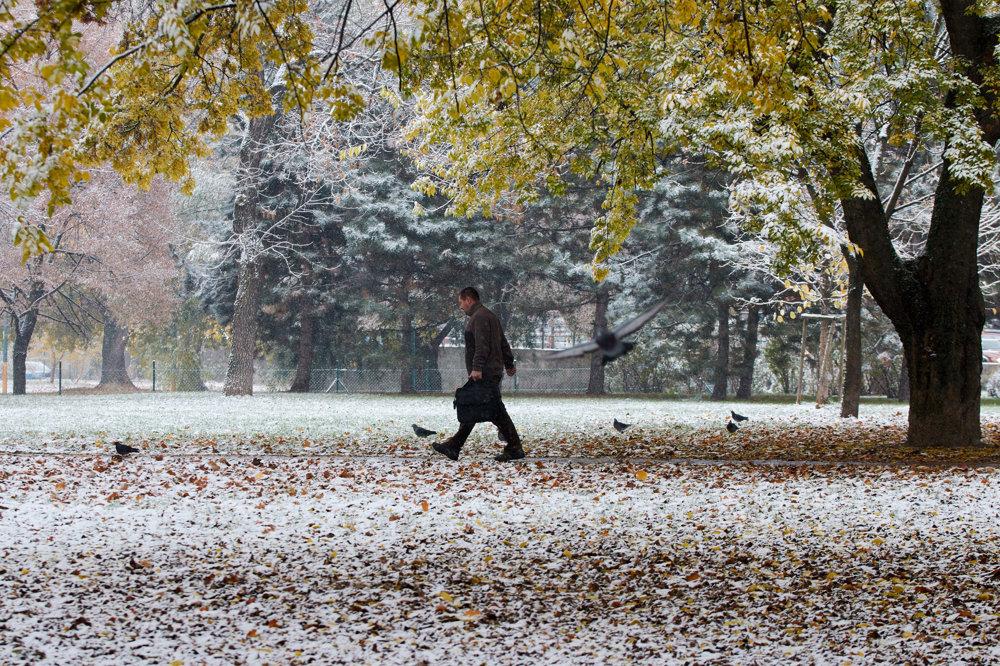 Ranné sneženie v Bratislave. FOTO - SITA