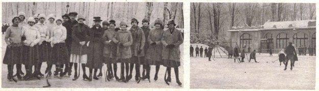 Košické hokejistky na klzisku pri korčuliarskom pavilóne v roku 1922.