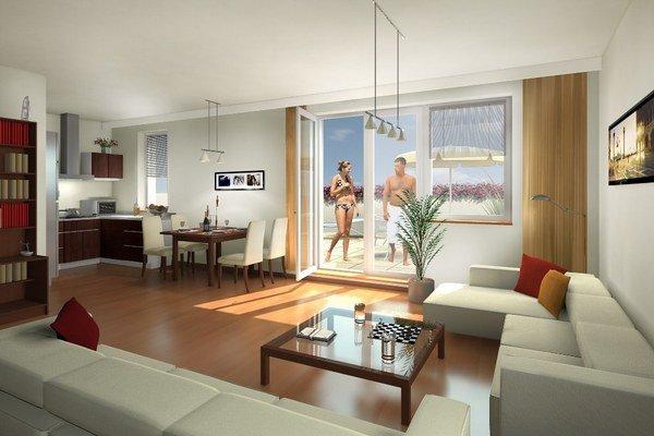 Z terasy superbytu, ktorý teraz ponúkajú na Barrandove, sa bude dať pozerať na všetky svetové strany.
