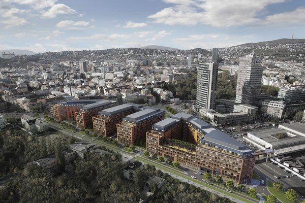 Vo výstavbe je v súčasnosti 174 400 štvorcových metrov kancelárskych priestorov, očakáva sa, že ich dokončia do troch rokov. Na obrázku Twin City.