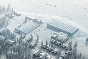 Vizualizácia Icehotelu 365 počas zimných mesiacov.