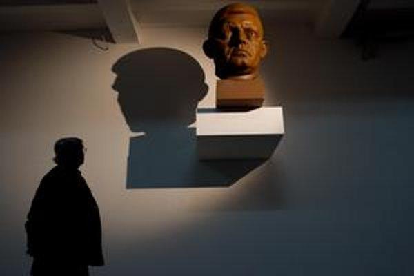 Pohľad na bustu každého nepotešil. Na námestí vydržala len jeden deň. Snímka je z výstavy.