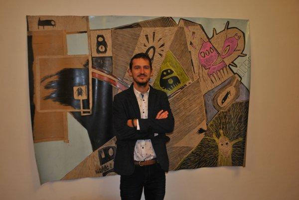 Radoslav Repický. Vo Východoslovenskej galérii pri jednom zo svojich diel.