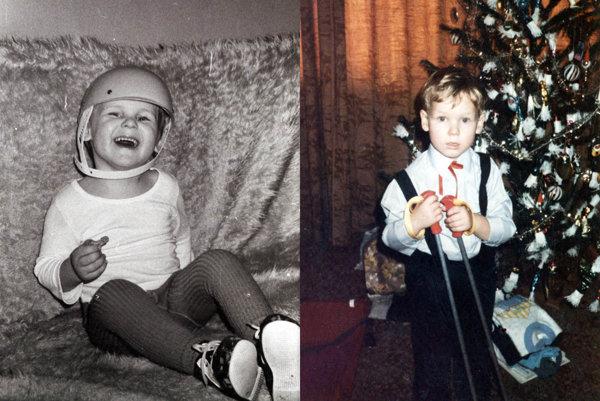 Ako malý chlapec chcel byť hokejovým brankárom. Vpravo Matej s lyžiarskymi palicami pod vianočným stromčekom.