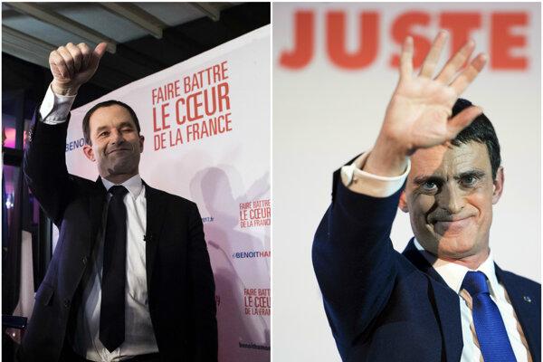 Benoit Hamon (vľavo) a Manuel Valls. Obaja najúspešnejší kandidáti ľavicových primárok sú členmi vládnucej Socialistickej strany.