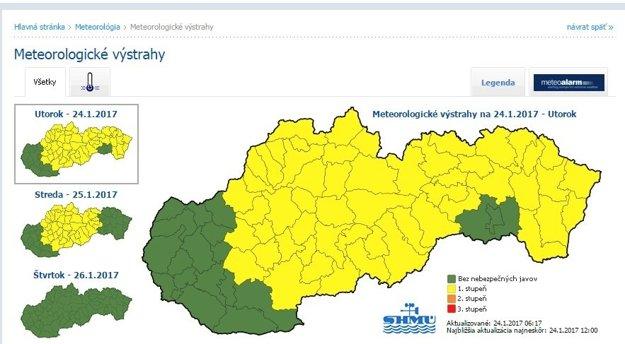 Výstraha platí pre väčšinu Slovenska.