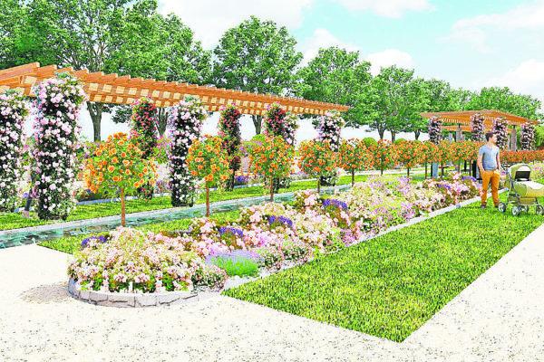 Takto by mohol vyzerať Ružový park podľa jedného zfinálových návrhov.