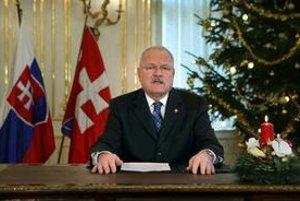 Prezident Ivan Gašparovič počas jeho novoročného príhovoru.