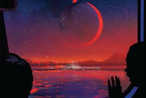 Ilustrácia turistického plagátu pre planétu TRAPPIST-1e.