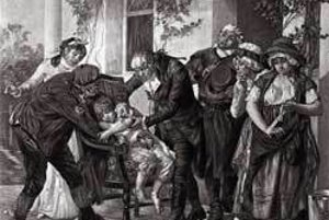 Prvé očkovanie proti kiahňam prebehlo 14 mája 1796. Na ilustrácii Edward Jenner očkuje osemročného chlapca Jamesa Phippsa. Autorom ilustrácie z 19. storočia je francúzsky umelec Gaston Málingue.