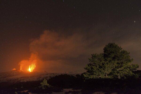 Erupcia európskej najaktívnejšej sopky Etny.