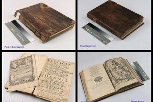 Stav pred a po reštaurovaní knihy Reverendisimo Sacrosanetae z roku 1582.