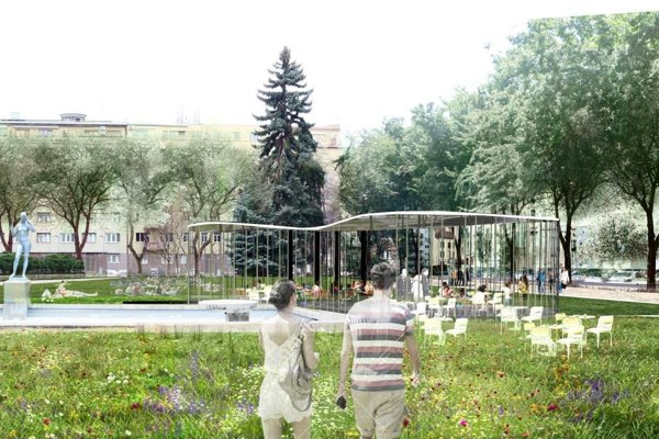 Vovynovenom parku na Šafárikovom námestí by sa mohli premietať aj filmy pod holým nebom alebo sa konať divadelné predstavenia čikoncerty.