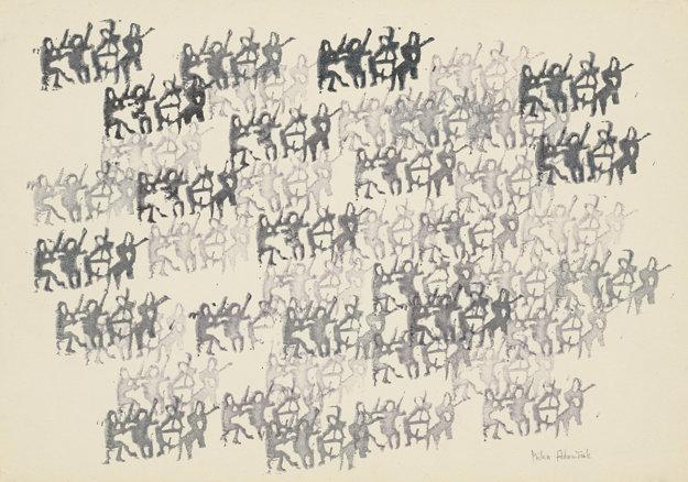 Milan Adamčiak: 48 sláčikových kvartet hrá súčasne a nezávisle tú istú skladbu klasika. 1978. Zbierka Linea