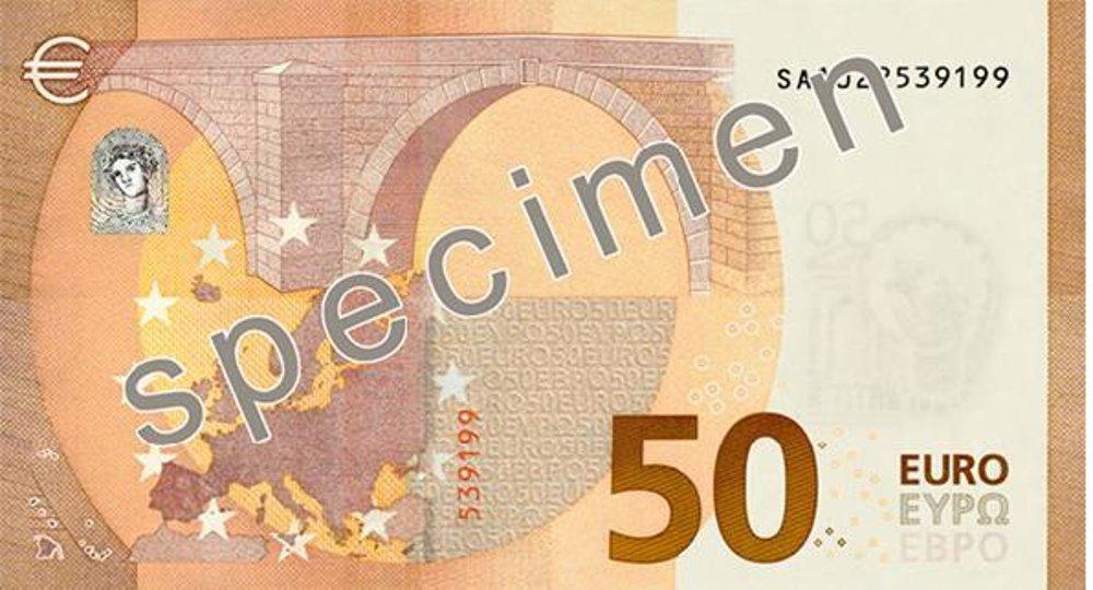 Rubová strana bankovky 50 € série Európa
