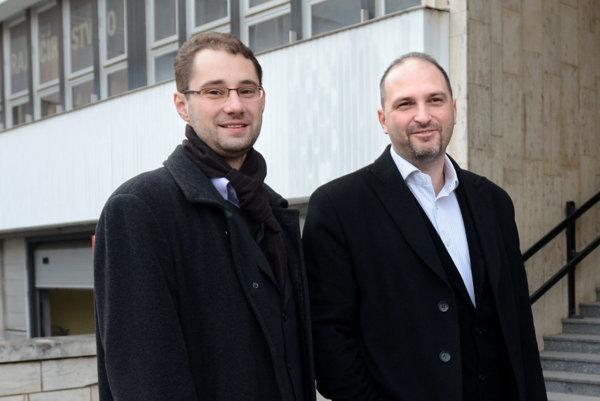 Poslanci Marcel Gibóda a Jaroslav Polaček.