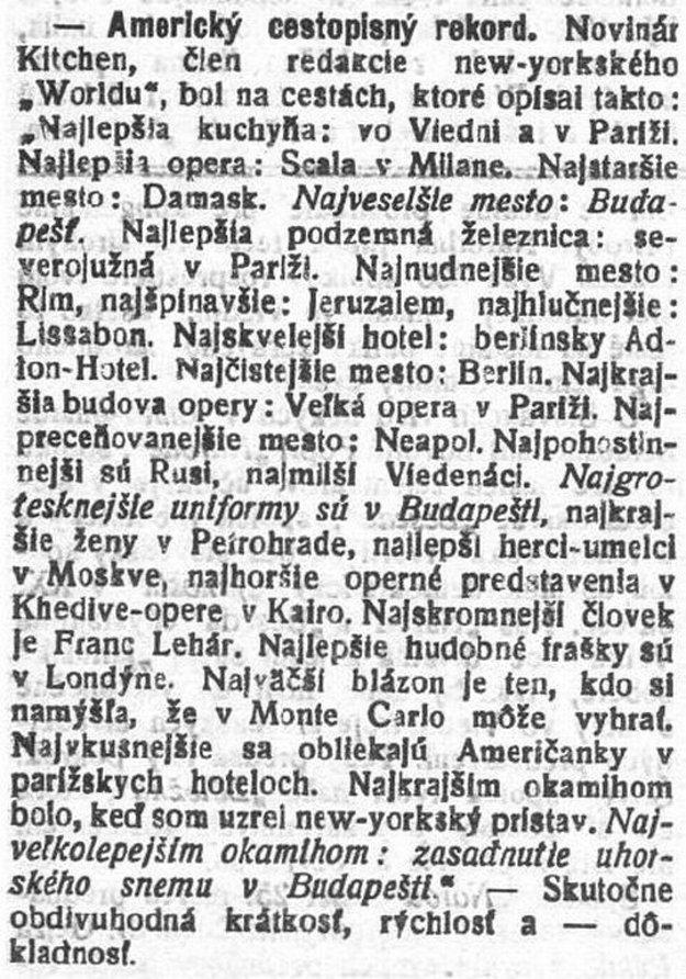 Slovenský denník priniesol najdrsnejší cestopis v kocke.