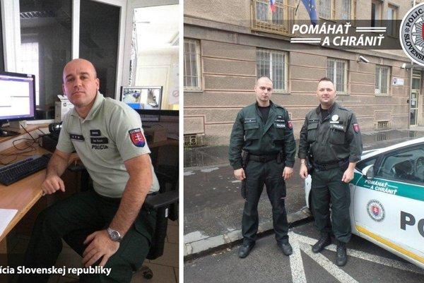 Vyslúžili si pochvaly. Ivan Ancin (za stolom) sMichalom Michalským aJozefom Margecanským (pri aute) nedali zlodejovi šancu.
