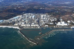 Letecký pohľad na jadrovú elektráreň Fukušima.
