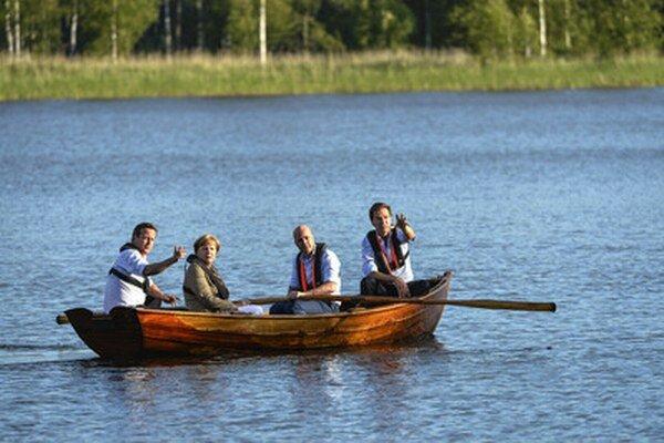 Cameron, Merkelová, Reinfeldt a Rutte vo vidieckom sídle švédskeho premiéra.