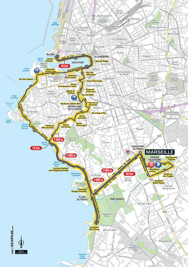Mapa dvadsiatej etapy Tour de France 2017.
