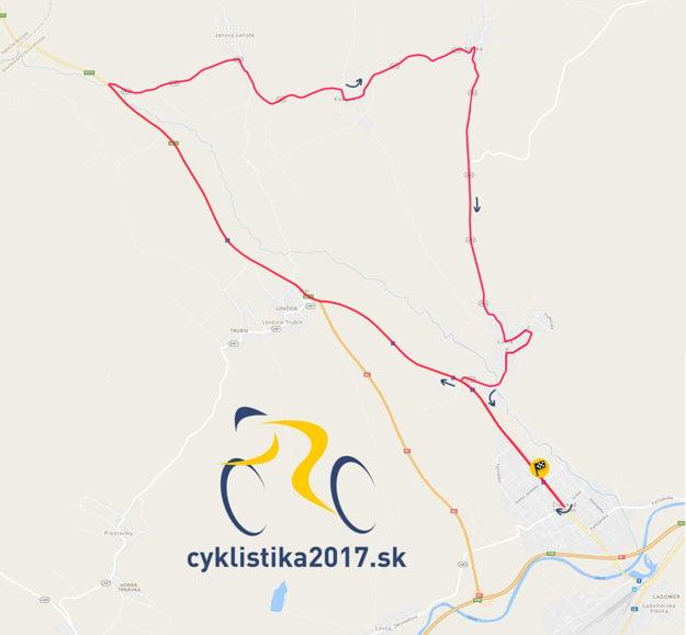 Trať pretekov s hromadným štartom mužov ELITE počas MSR a ČR v cyklistike 2017 v Žiari nad Hronom.