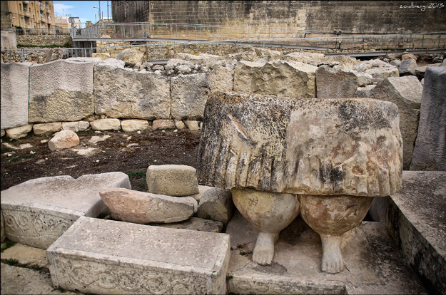 Archeologické nálezisko pri meste Tarxien na ostrove Malta.